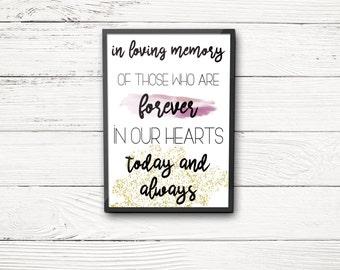 In Loving Memory print for Weddings INSTANT DOWNLOAD