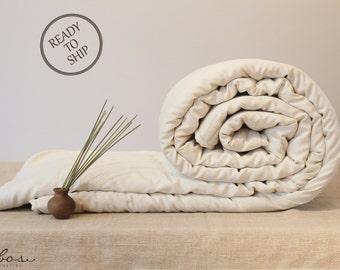 QUEEN COMFORTER ready to ship - for all seasons, handmade wool comforter, luxury bedding, organic duvet insert, housewarming gift