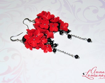 Red black earrings Red floral earrings Red earrings Polymer clay Red black Long earrings Red black Dangle earring Jewelry gift for her