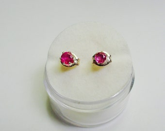 3mm. Natural Pink Sapphire Stud Earrings in Silver.