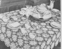 308 PDF Queen Anne's Lace Crochet Pattern. Tablecloth, Bedspread, Runner, Flower Motif Design, Vintage 1940's, PDF Download, Free Pattern