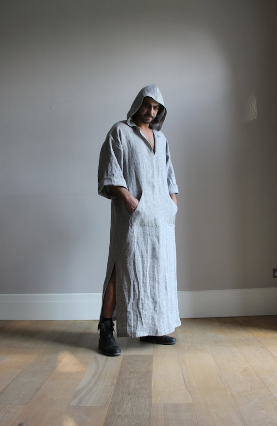 Ash Grey Hooded Caftan Pure Soft Pre Washed Wrinkled Linen