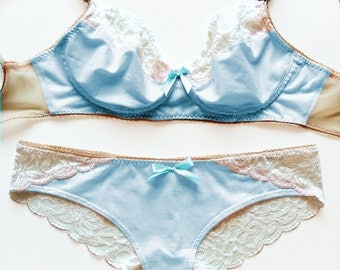 Something Blue Bridal Lingerie Set: Baby Blue Cotton and Lace Lingerie Set - Soft Bra and Brazilian Cut All Lace Back Panties Set