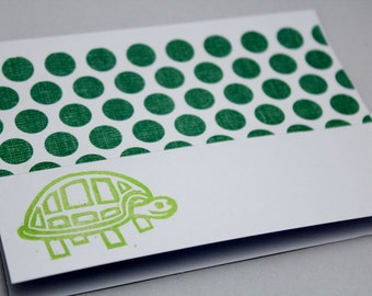 Set of Eight Hand Stamped Cards - Green Turtle and Polka Dots