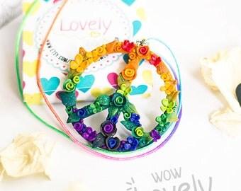 Peace Rainbow Hippie necklace / Peace Sign Necklace / Rainbow necklace / Hippie flower pendant / Polymer clay flowers / peace sign / boho