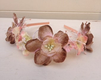 Velvet Floral Wedding Headband, Flower Headband,Wedding Headdress,Flower Hair Wreath,Shabby Chic Headband,Bridesmaid Headband,Handmade in UK