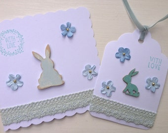 Bunny Rabbit Card & Gift Tag set, New Baby Card and Tag set, Custom Card and Tag set, With Love Card and Tag set