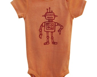 Hand Dyed Hand Painted Orange Robot Onesie Bodysuit; Robot Toddler t shirt