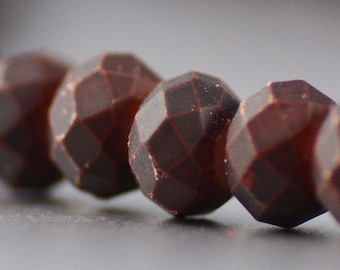 Chinese Crystal Rondelles with Rubberized Surface in Rusty Brown 6x8mm