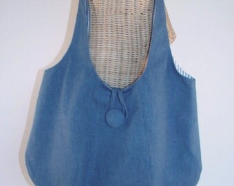 Hobo Shoulder Bag Tote with Inside Pockets and Closure Handmade