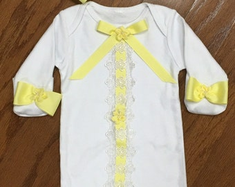 Yellow Coming Home Outfit / Gown & Cap Set