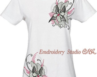 """Machine embroidery flower design  """"Flowers_014a """"- flower embroidery - machine embroidery design - flower stylized"""