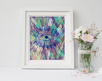 Bohemian Hippie evil eye printable art print poster for baby nursery, dorm room, or home decor