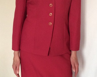 Vintage Eastex suit, a raspberry pink summer skirt suit