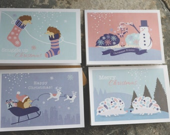 4 pack Hedgehog Christmas cards Greetings Cards 4 Pack different cards, Woodland themed hedgehog Cards