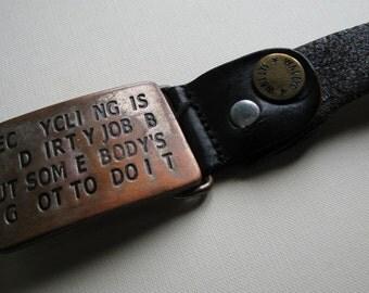 Belt BUCKLE strap Recycling vintage leather Italian Zamak