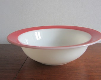 PYREX - Milk Glass Large Rimmed Serving Bowl with  Band Pink Flamingo - Made in USA - 1950