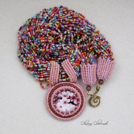 Beadwork necklace Flower necklace Colorful necklace Valentines gift