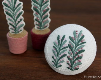 Embroidered fridge magnet with beads - plant magnet
