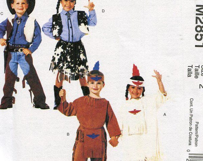 FREE US SHIP McCall's 2851 Costume Easy 2 hours Cowboy Cowgirl Cowboys Indian Western Boy Girl Size 2, 3,4 7,8  Sewing Pattern ff Halloween