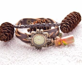 Wristwatch for women-women watch-coffee  women watch-wrist watch-metal women watch-fashion women clock-faux leather band-leather band watch