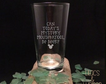 Etched Beer Glass | Mystery Mousekatool Be Beer | Mousekatool | Etched Pint Glass Etched Glass