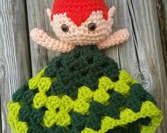 Peter pan or tinker bell crochet lovey/amigurumi/blanket/super hero/ crochet/doll/ fandom