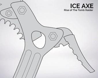 Tomb Raider Ice Axe blueprint 1:1 scale