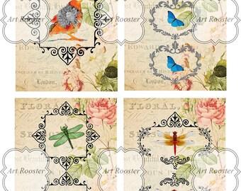 Printable Gift Tags Vintage Digital Cards Digital Download Scrapbook Cards Digital Collage Sheet Printable Greeting Cards Digital Images