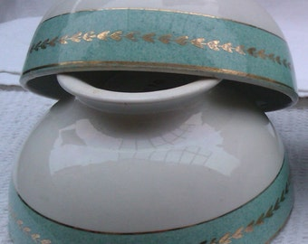 Turquoise and White Café au Lait Bowls, Old French Breakfast Bowls, Cereal Bowls, Vintage Shabby,