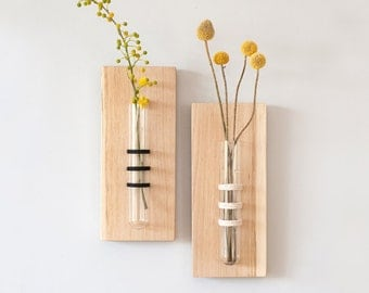 Black Hanging Vase, Wall Decor, Tube Vase, Wall Hanging, Flower Vase, Test Tube Vase, Unique Home Accessory, Mother's Day Gift, Wedding Gift