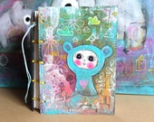 Brighten your day. Art Journal Small. Original mixed media cover. Watercolour paper journal