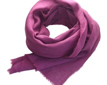 Raspberry Hand-Dyed Linen Scarf / Women's Scarf / Linen Scarf / Pink Scarf / Pink Linen Scarf / Extra Long Scarf / Spring Scarf /