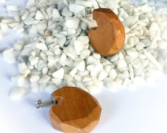 Wooden earrings round