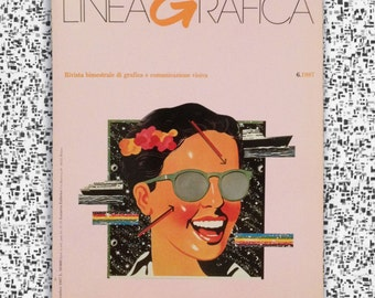 LineaGrafica, Italian Magazine of Graphics + Visual Communications, No. 6.1987 November, Back Issue, Vintage, Graphic Design, Typography