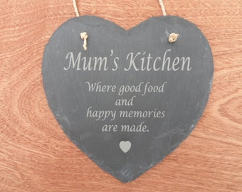 Mum's Kitchen Slate Heart, Engraved Slate, Mothers Day gift, Nan's Kitchen, Nanna's Kitchen, Customise This