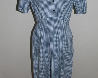 Vintage 40s dress women, 50s dress women, Checkered print,  Wiggle Dress, 40s dress, Small, Medium, 1940s dress