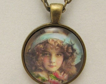 Edwardian Girl Necklace, Edwardian Girl Pendant, Edwardian Glass Pendant, Glass Pendant, Glass Necklace, Glass Photo Pendant, Edwardian Girl