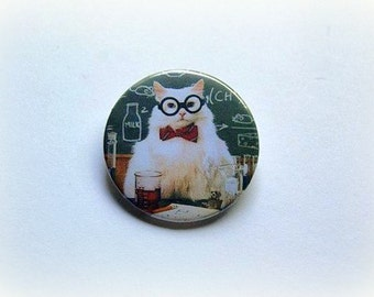 Chemistry cat - pinback button or magnet 1.5 Inch