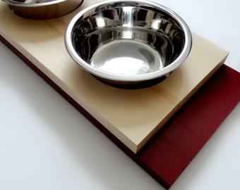 Modern feeder medium- SALE- Cat or dog bowls, Minimal design, Wood and burgundy, animalove