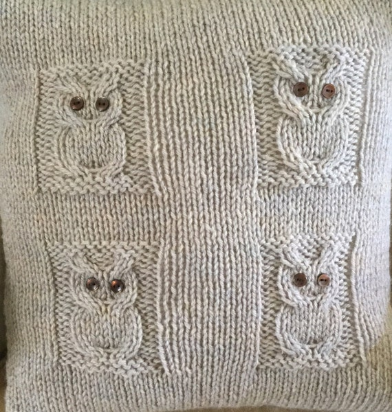 Knitting Pattern Envelope Cushion : PATTERN 4 Owls cushion cover envelope opening chunky/bulky