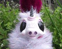 Sprinkles the Unicorn Fantasy Monster Art Doll Handmade OOAK Handcrafted Pink Rainbow Sparkle