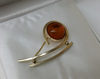 Old brooch amber silver 835 60s SB260