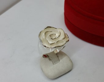 Silver 925 ring flower silver ring 18.5 mm size 8.4 SR624