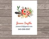 Business cards, custom business cards, set of 50 business cards, calling cards, address change card