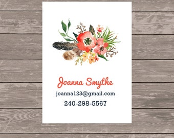 Business cards, custom business cards, set of 50 business cards, calling cards, address change card