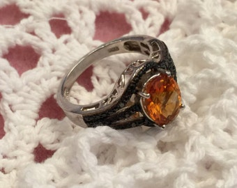 Stunning Sterling Silver Ring with Large Tangerine Stone