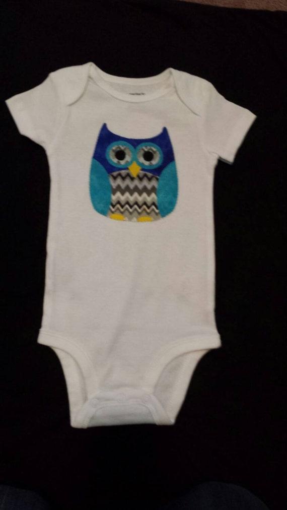 Boy Owl Applique Baby Clothes Hand Sewn Baby Bodysuit