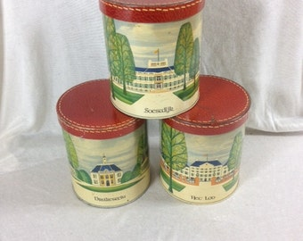 Dutch Royal Family Castles Tin Set Vintage Set Of 3 Tins With Castles