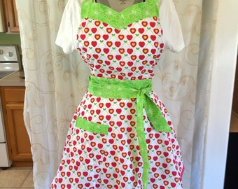 Heart Valentine's Apron, Women's Apron, Red, Green, Cherries, Retro